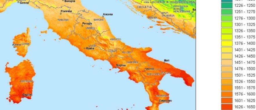 irradiazione solare centro italia